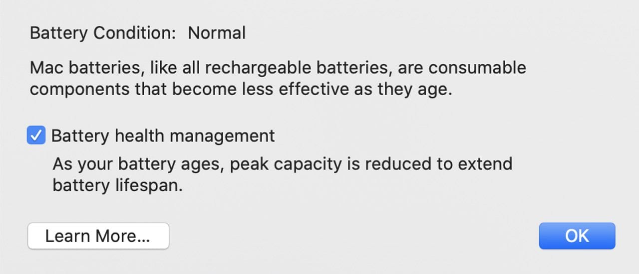 """A view of the new Battery Health Management dialog, showing a """"Normal"""" battery condition."""
