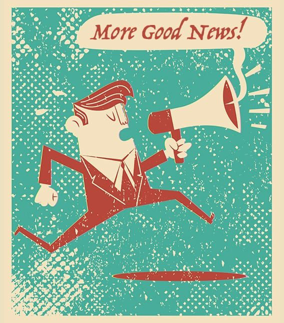 """guy running with a megaphone shouting """"More Good News!"""""""