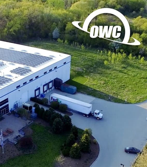 aeriel photo of owc warehouse in woodstock, il