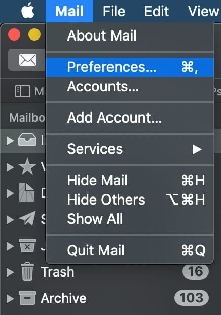 Mail menu with Preferences selected