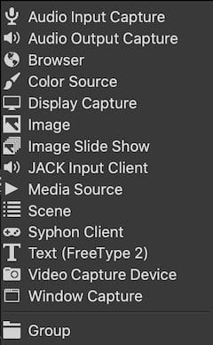 The OBS Source Menu