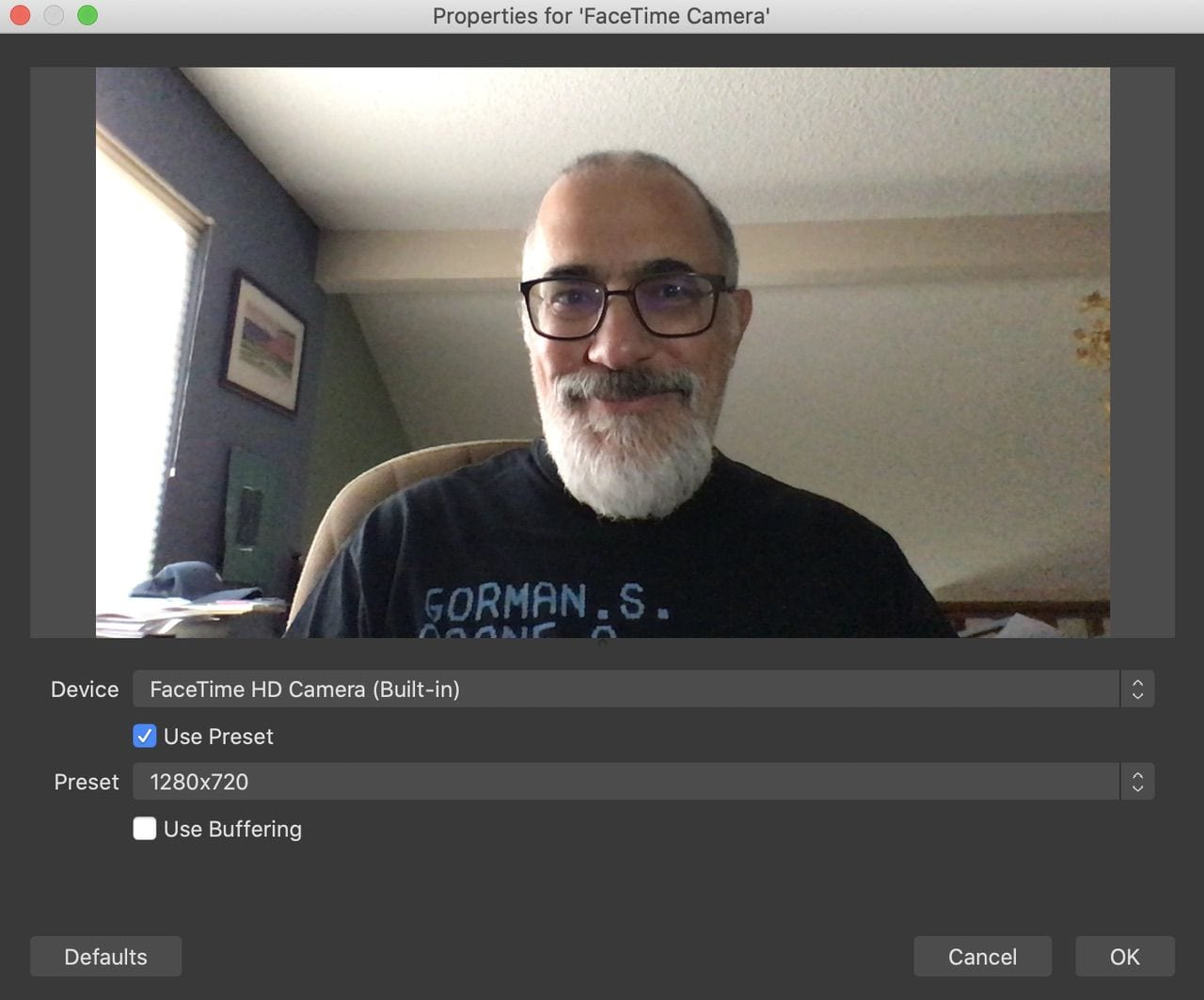 Adding the FaceTime camera as a video source in OBS