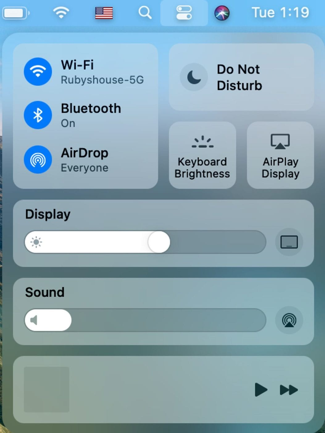 Big Sur's new Control Center puts many settings just a click away