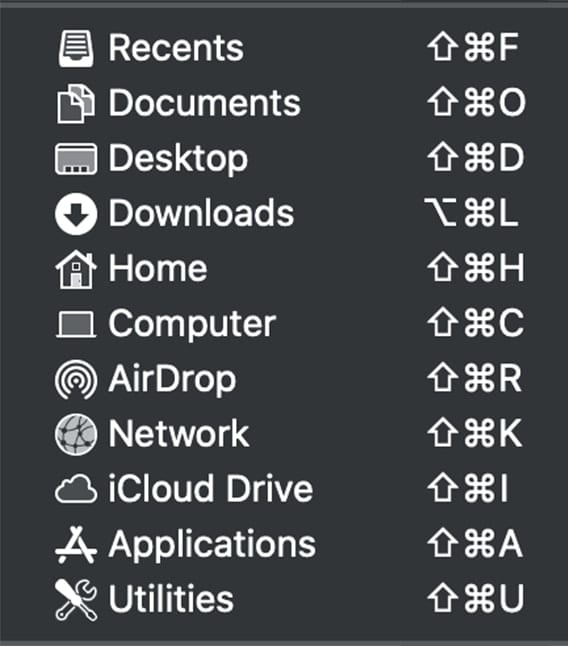 screenshot of macos go menu