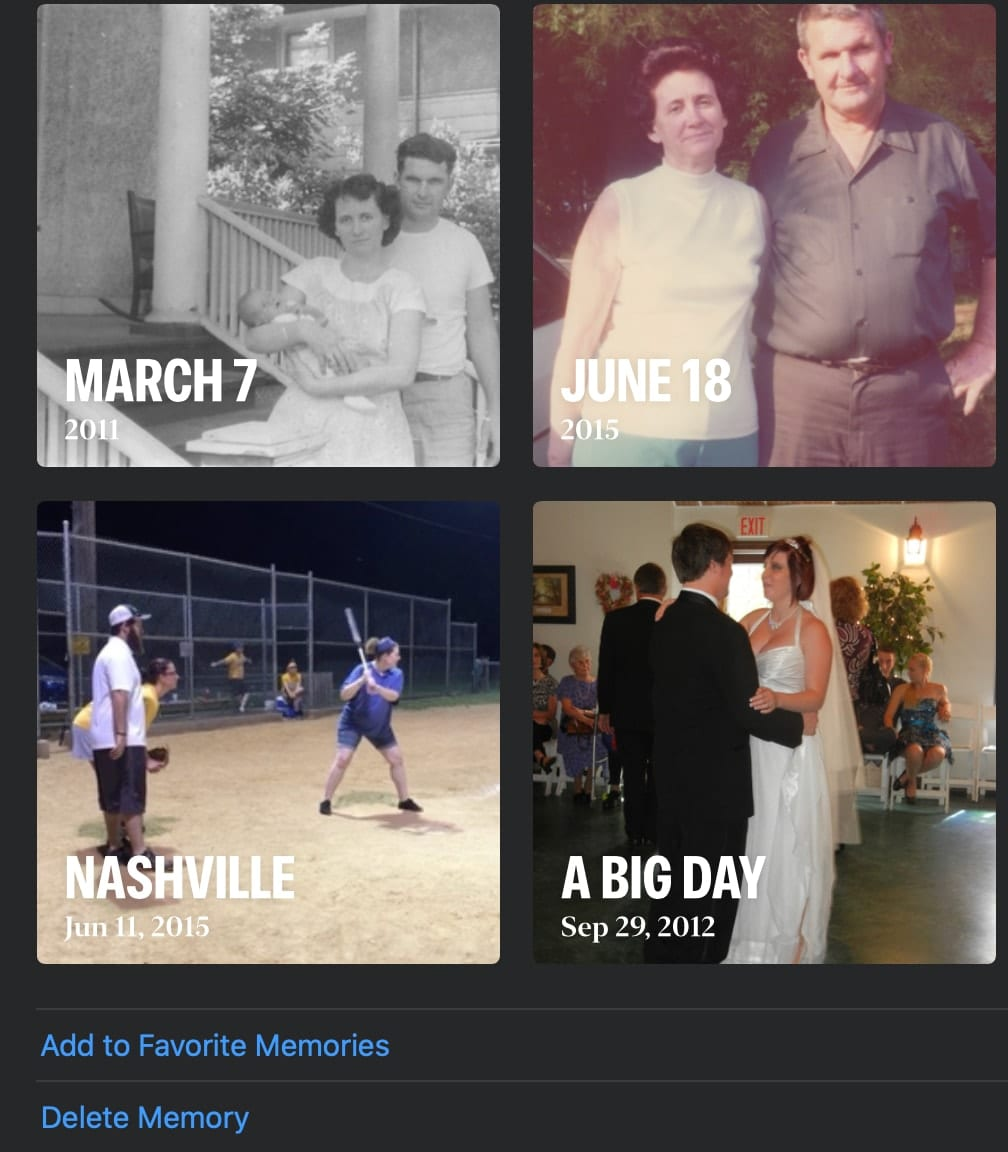 Favorites graphic from mac photos app with 4 items showing dates