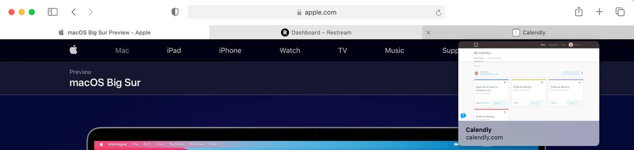 Hovering the cursor over a Safari tab now shows a preview of what the web page looks like