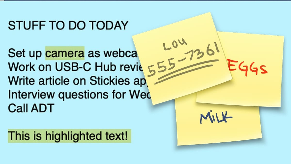 Sample sticky note with stickies app icon