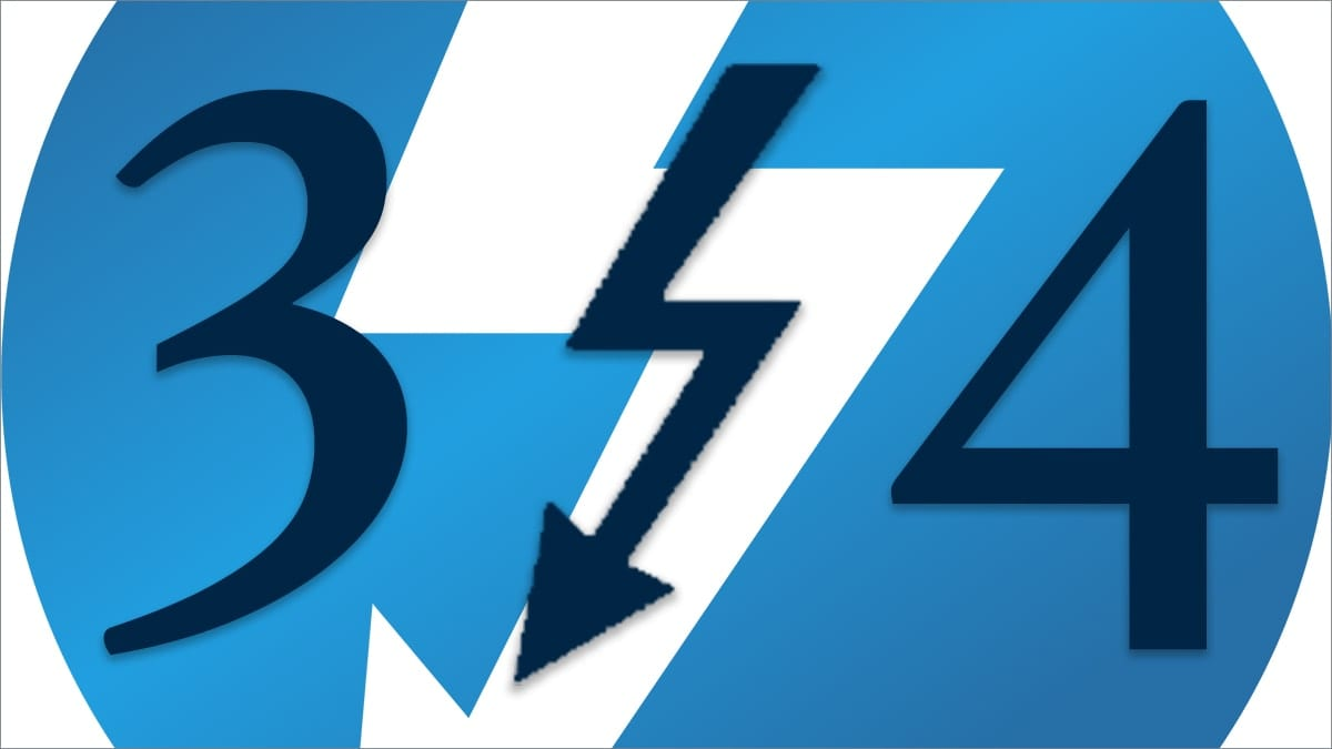 Thunderbolt logo with a 3 and 4