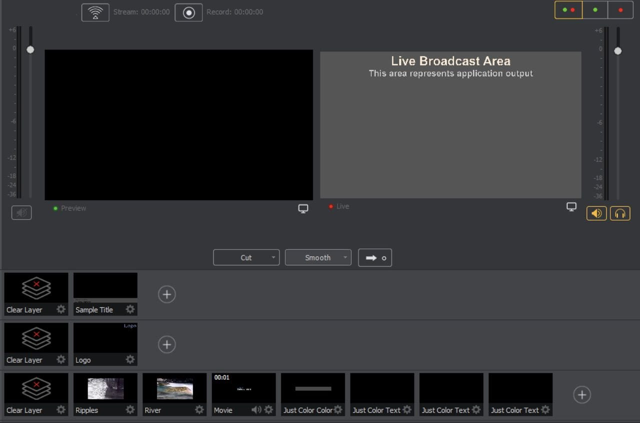 Wirecast uses the familiar preview and program windows, with up to five layers of video and other sources below
