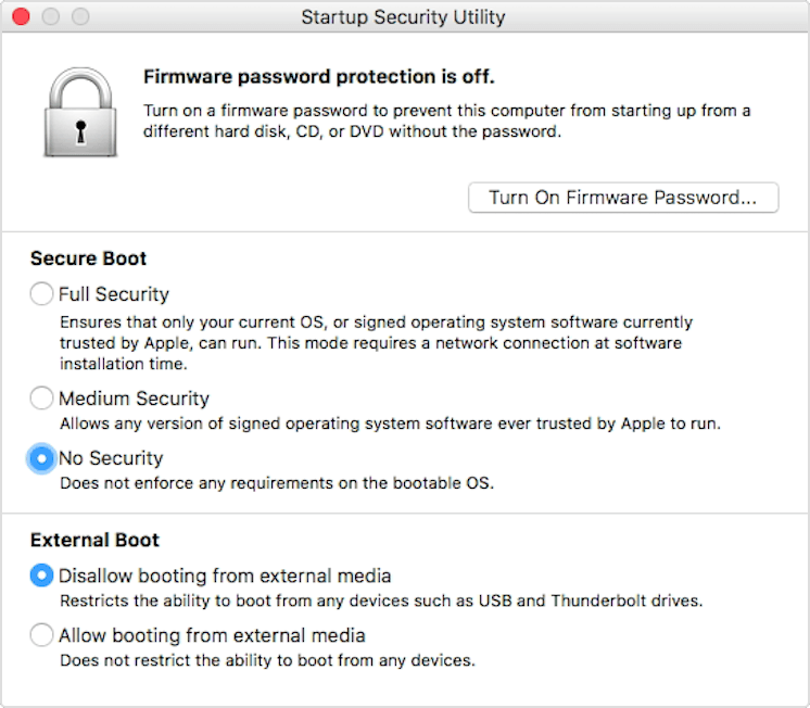 "Screenshot of macOS startup security utility window with ""no security"" selected"