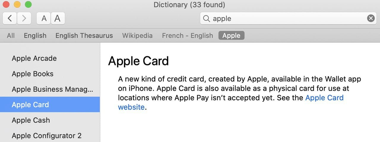 The Apple Dictionary shows a list of products or services beginning with the word Apple