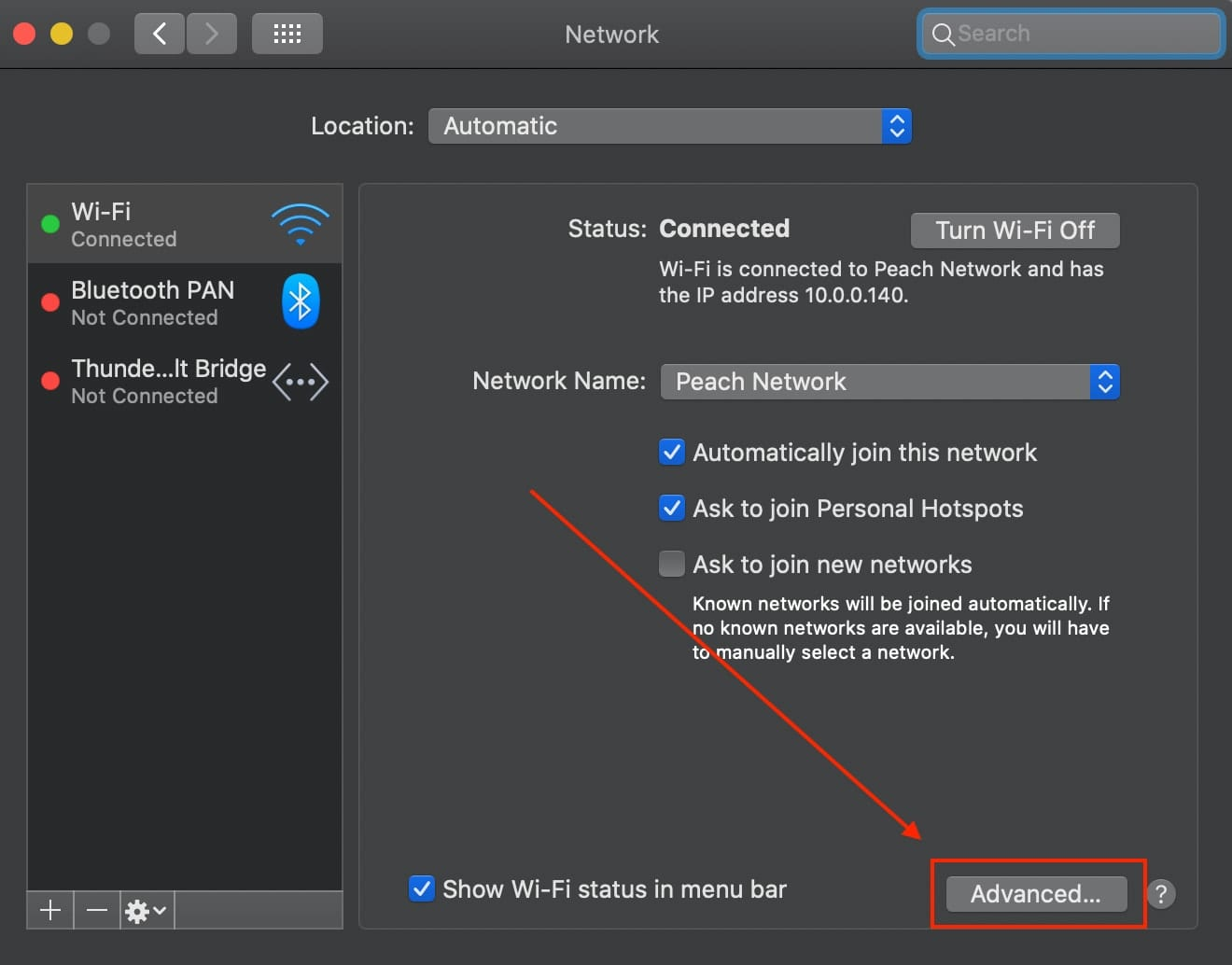 Network preferences showing the Advanced button highlighted