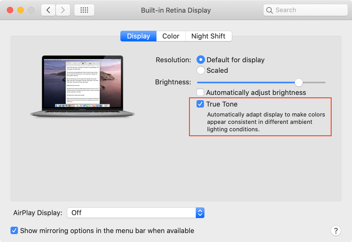 Display preferences window showing built-in retina display and true tone selected