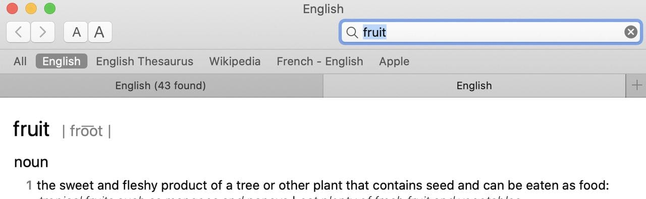 """Here we've opened the word """"fruit"""" in a new Dictionary app tab"""