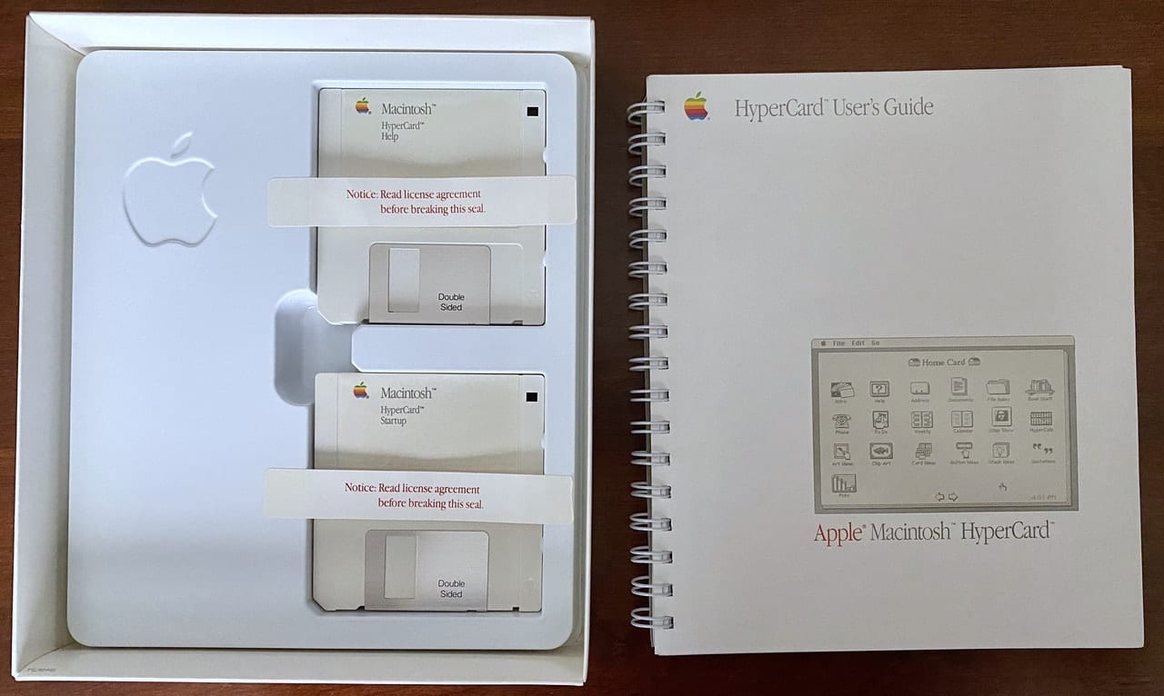 My still-sealed HyperCard disks and the manual that came with them