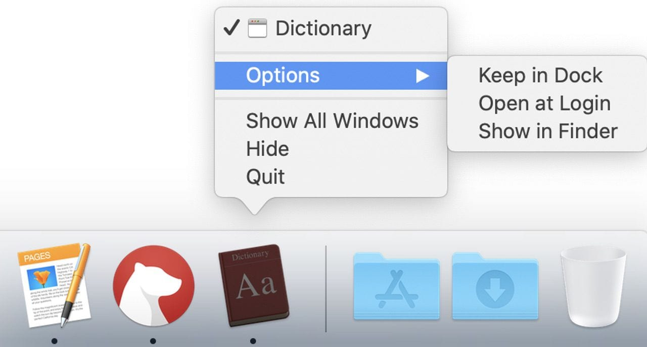 Click and hold on the Dictionary icon, then select Options > Keep in Dock to place the Dictionary app in the macOS Dock permanently