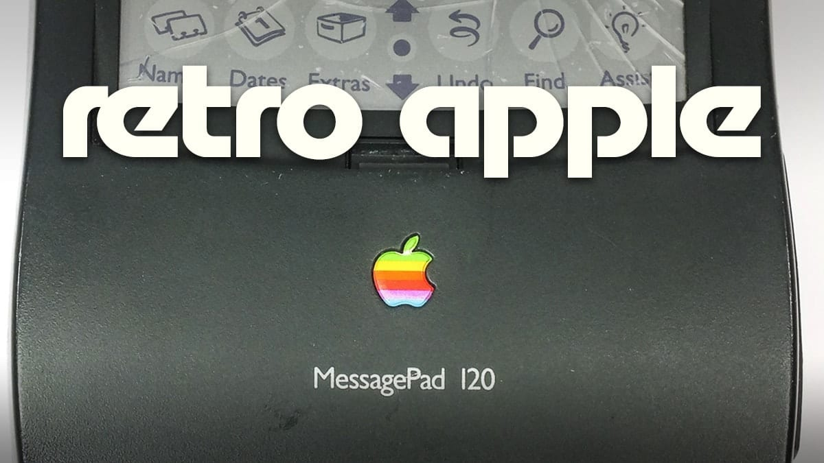 "Apple Newton MessagePad 120 with text saying ""retro apple"""