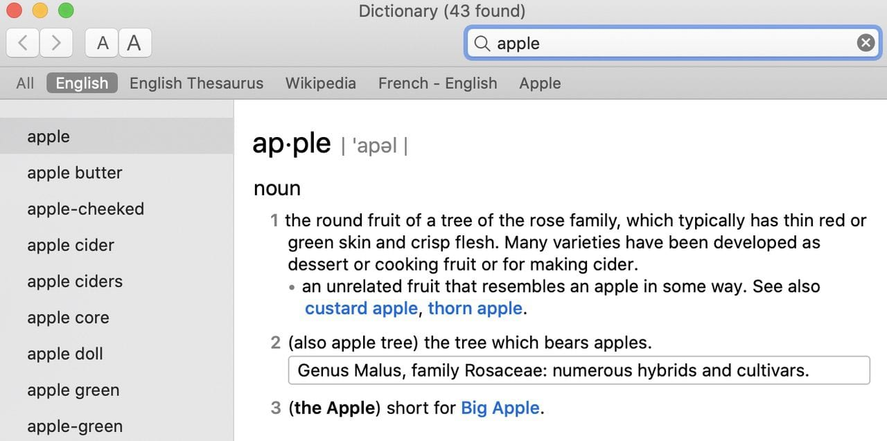 """Here's the Dictionary definition of the word """"apple"""""""