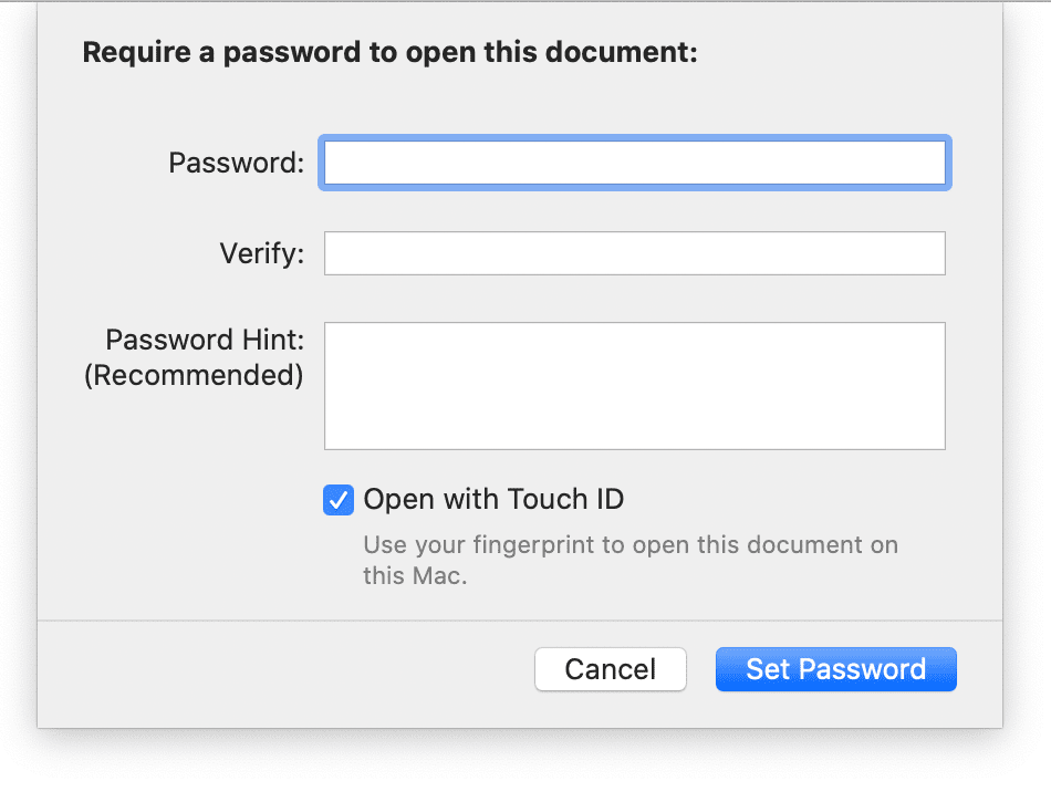 Enter a document password and hint