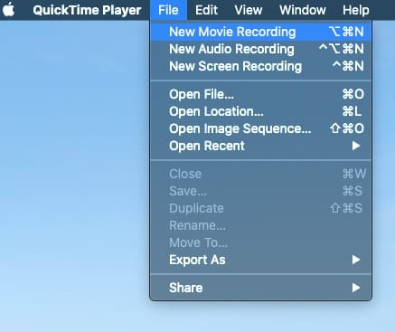 "Select ""New Movie Recording"" from the QuickTime Player File menu."
