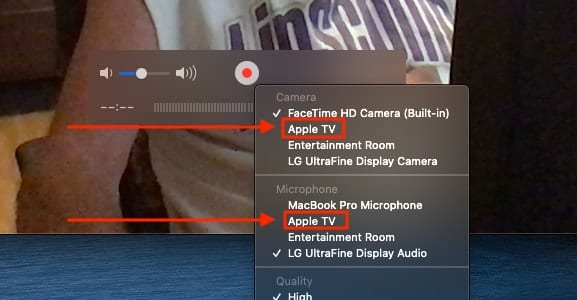 "Select ""Apple TV"" from both the Camera and Microphone settings."