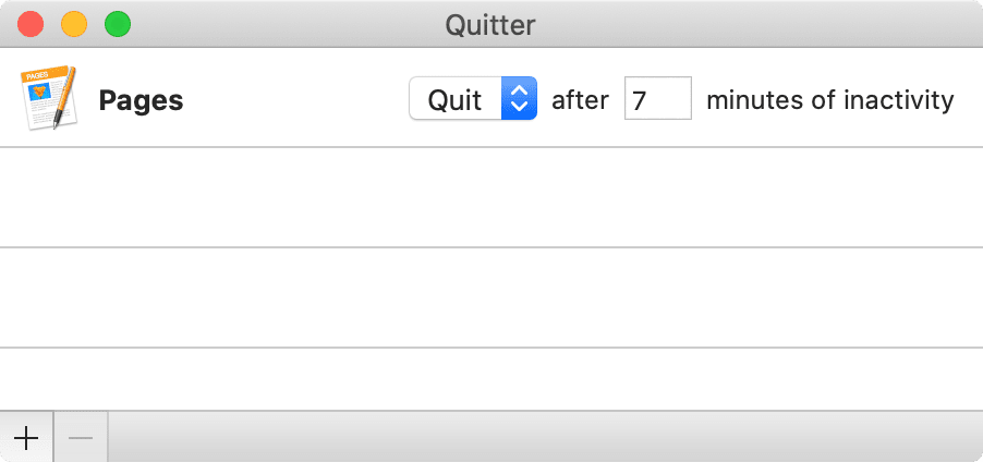 "The Quitter app ""Edit Rules"" menu"