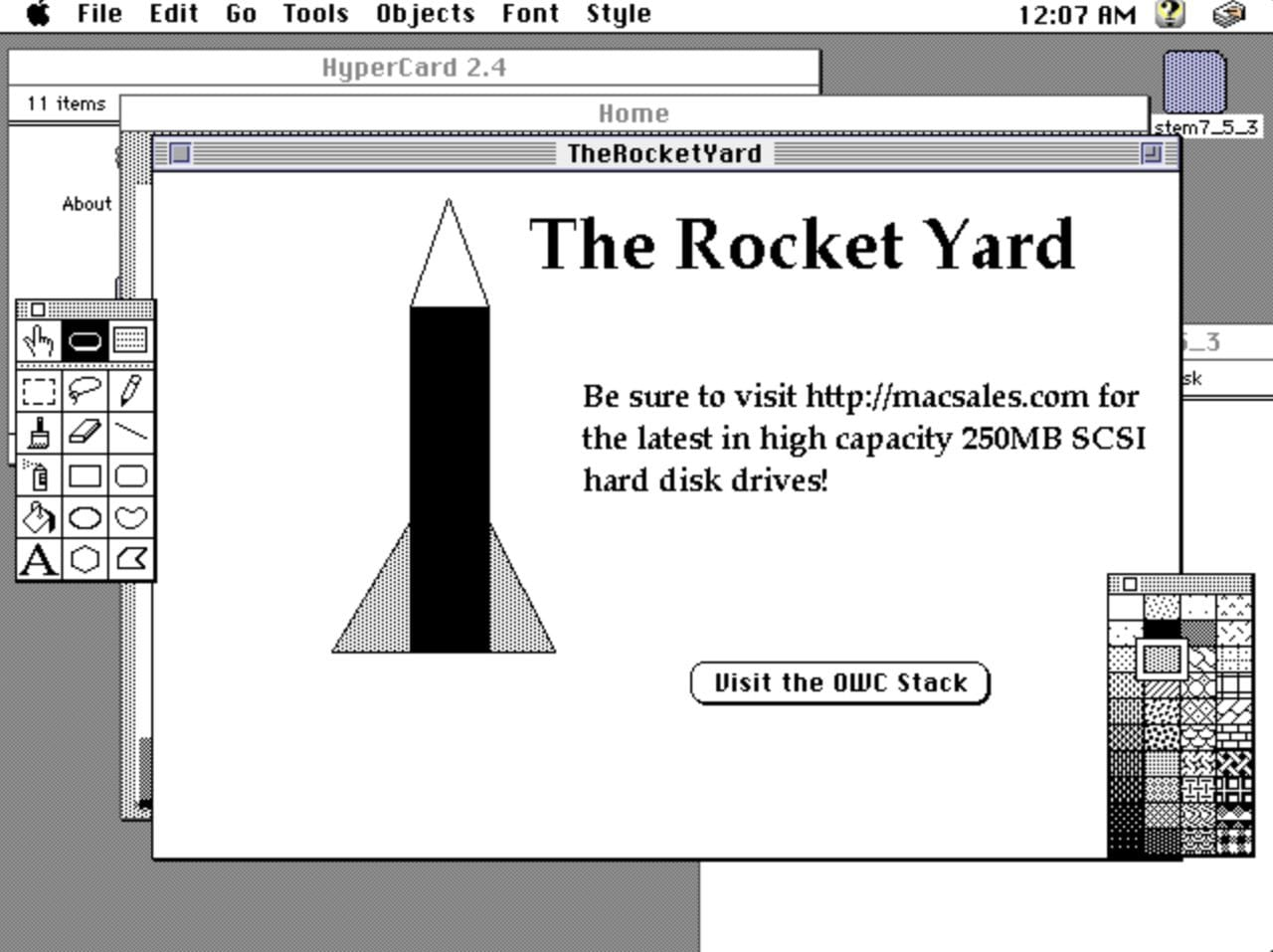 Imagining The Rocket Yard and MacSales.com as a HyperCard stack...
