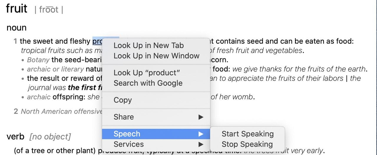 Don't know how a word is pronounced? Have your Mac speak it!