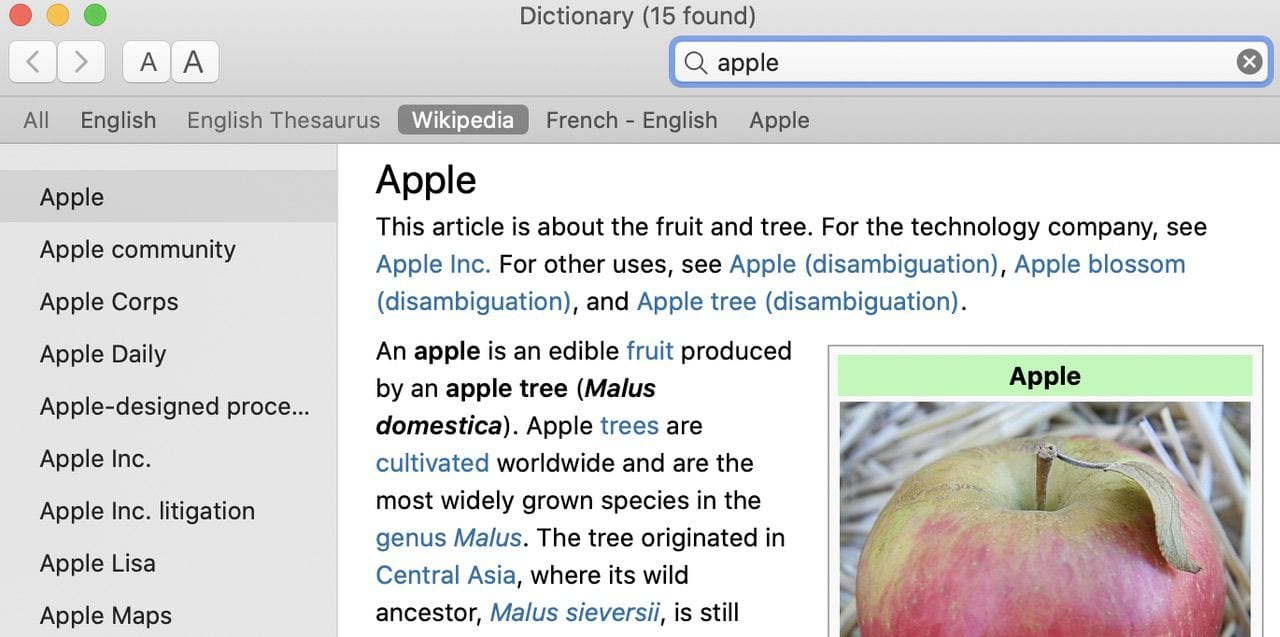 The Dictionary app is a wonderful Wikipedia browser!