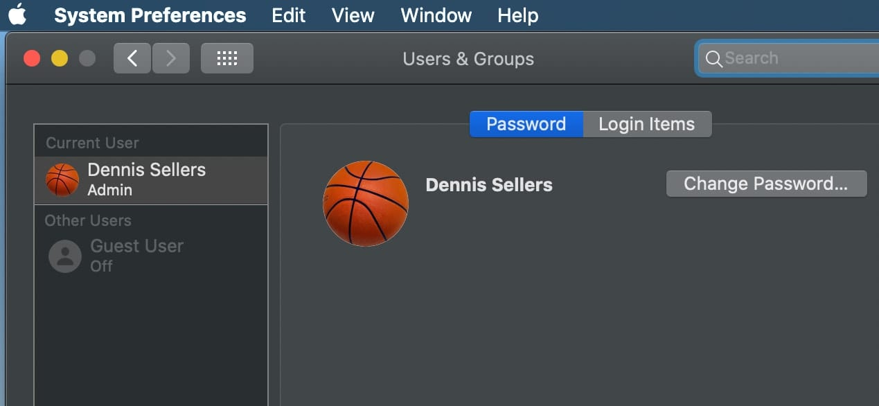 Screenshoot of macOS System Preferences > users & Groups > Password