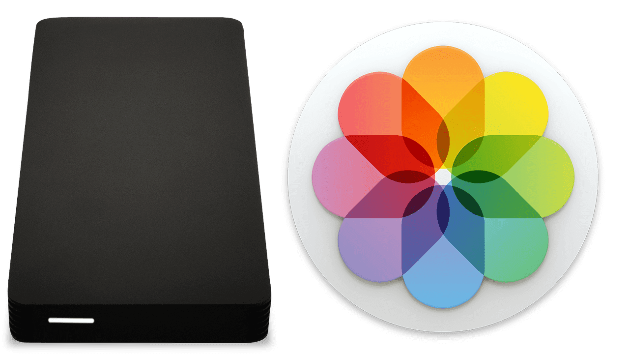 owc envoy pro external drive and macOS Photos logo