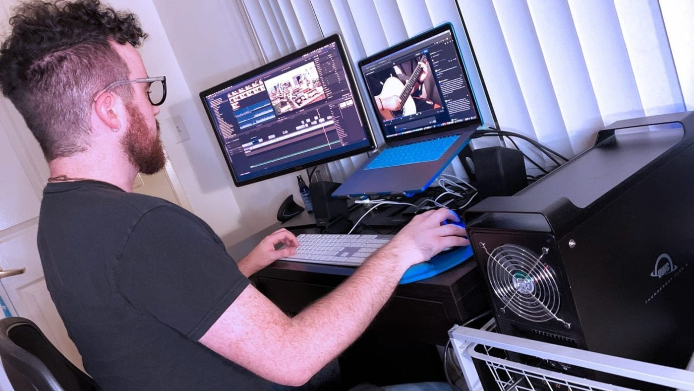 Man editing video using an OWC ThunderBay Flex 8
