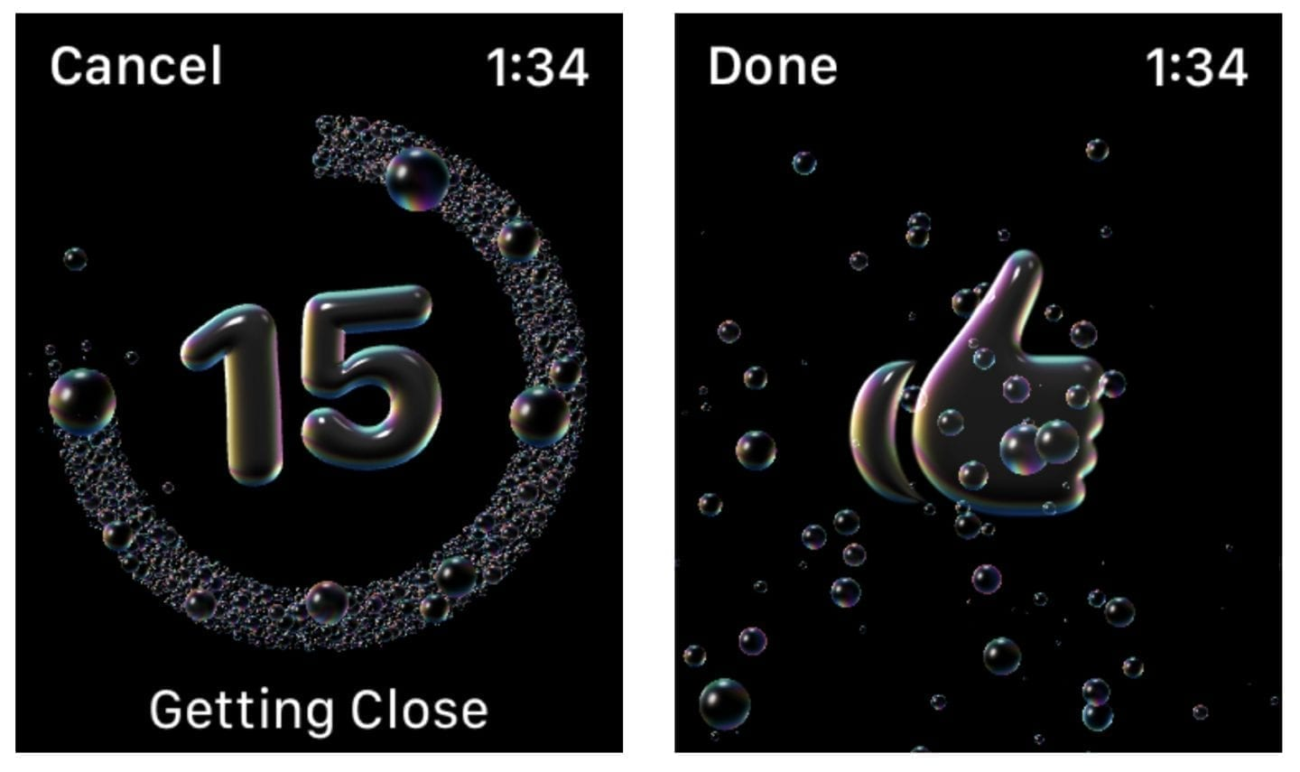 Your Apple Watch counts down the time, then signals that your hands are clean with a chime and a soapy thumbs-up