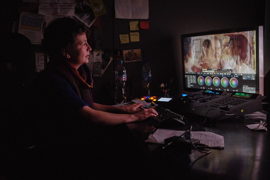 A colorist in Amsterdam working on the advanced color grading system Scratch.
