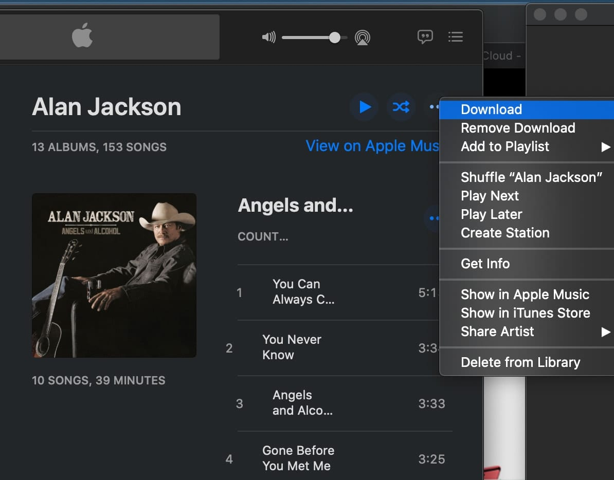 Downloading all your music ensures that everything is included in the backup