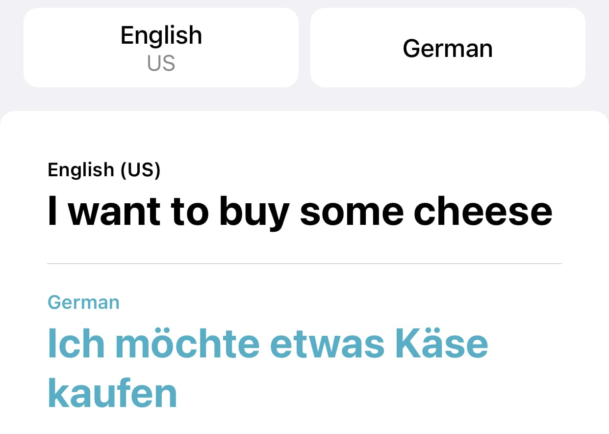 The spoken English sentence and the German translation are both displayed