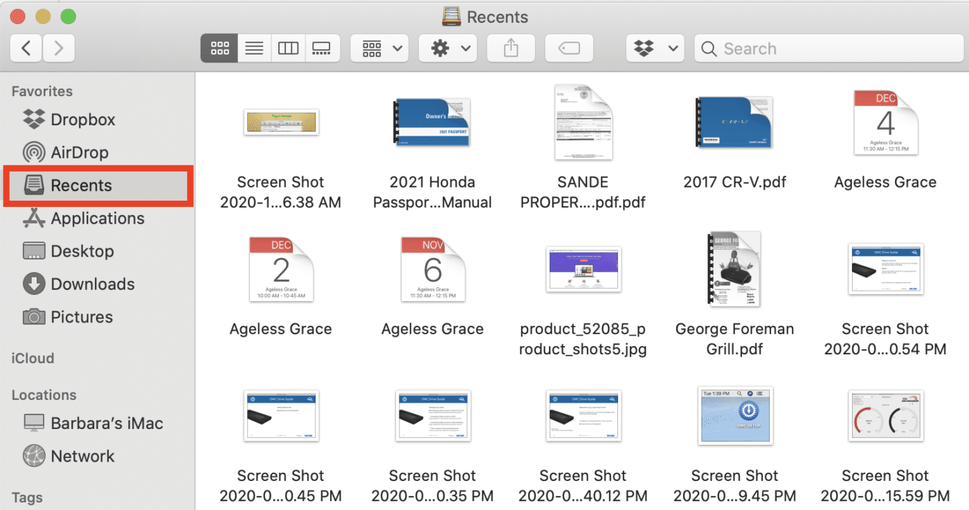 The Recents folder is accessible from under Favorites in the Finder Sidebar