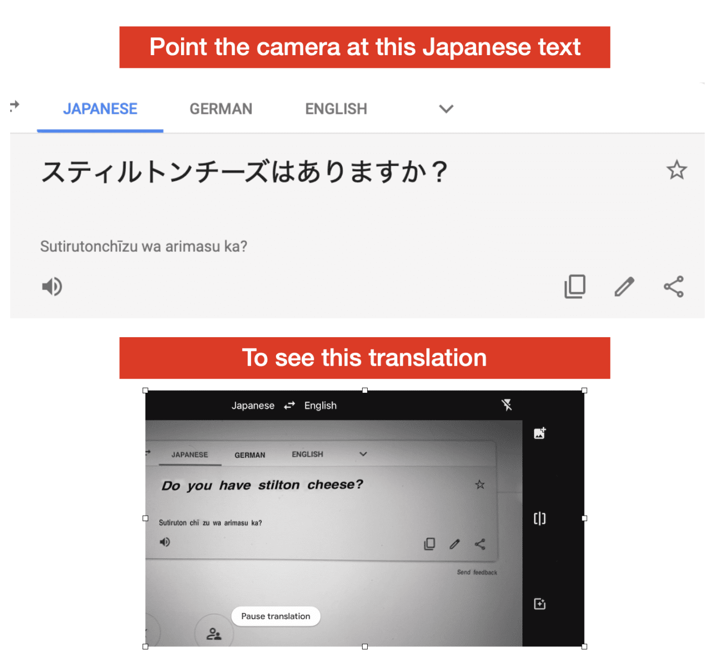 Google Translate provides instant translation of printed text in 108 languages