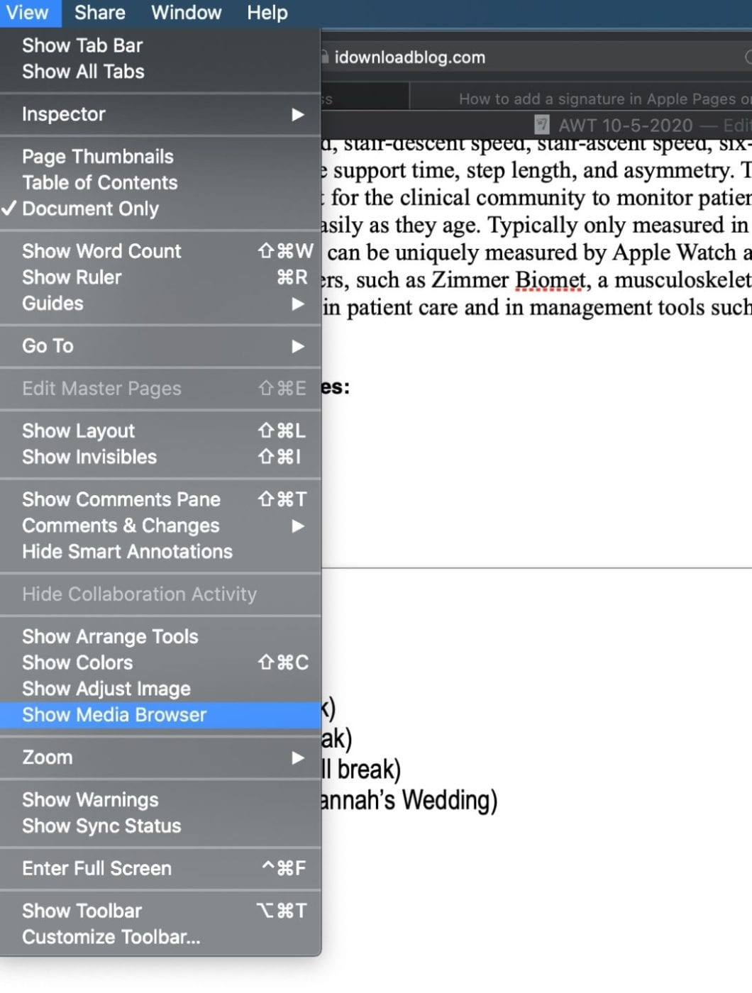 Apple Pages view menu with media browser selected