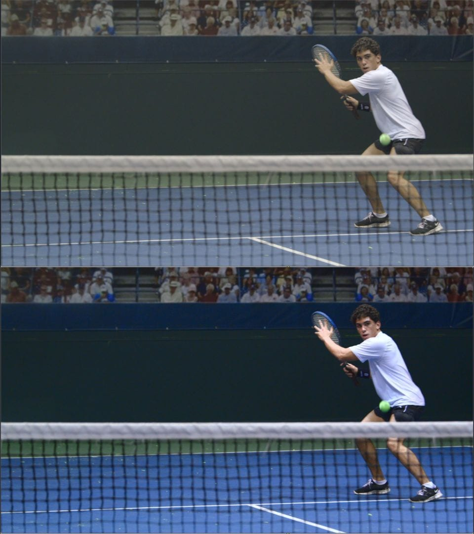 Before and after color grade image of a tennis player
