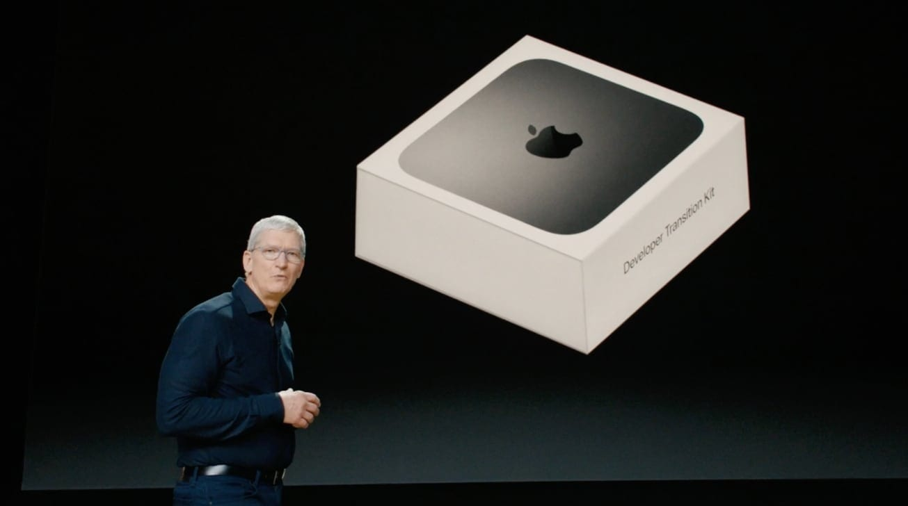 Apple CEO Tim Cook announcing the Developer Transition Kit at WWDC 2020 in June