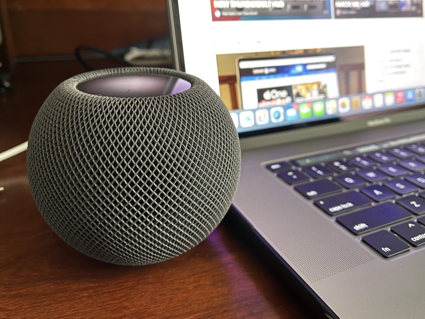 The HomePod mini in Space Gray. Photo by Steven Sande