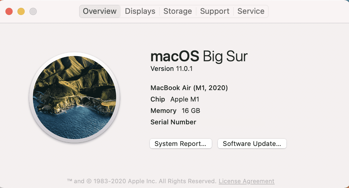 About This Mac screen from the new M1 MacBook Air