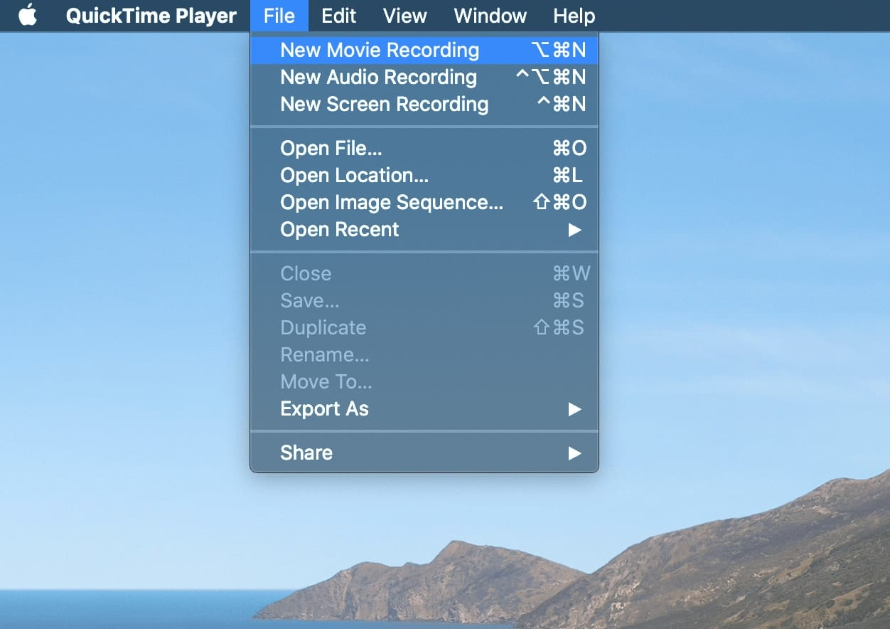 Using QuickTime, choose New Movie Recording to use your iPhone as a video camera