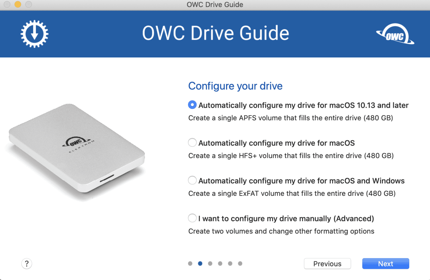 The OWC Drive Guide app is preinstalled on the Envoy Pro Elektron and makes setup of the drive a snap.