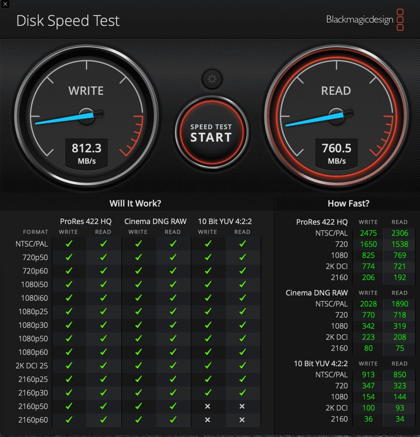 Results from Blackmagic Disk Speed Test for 2020 M1 MacBook Air