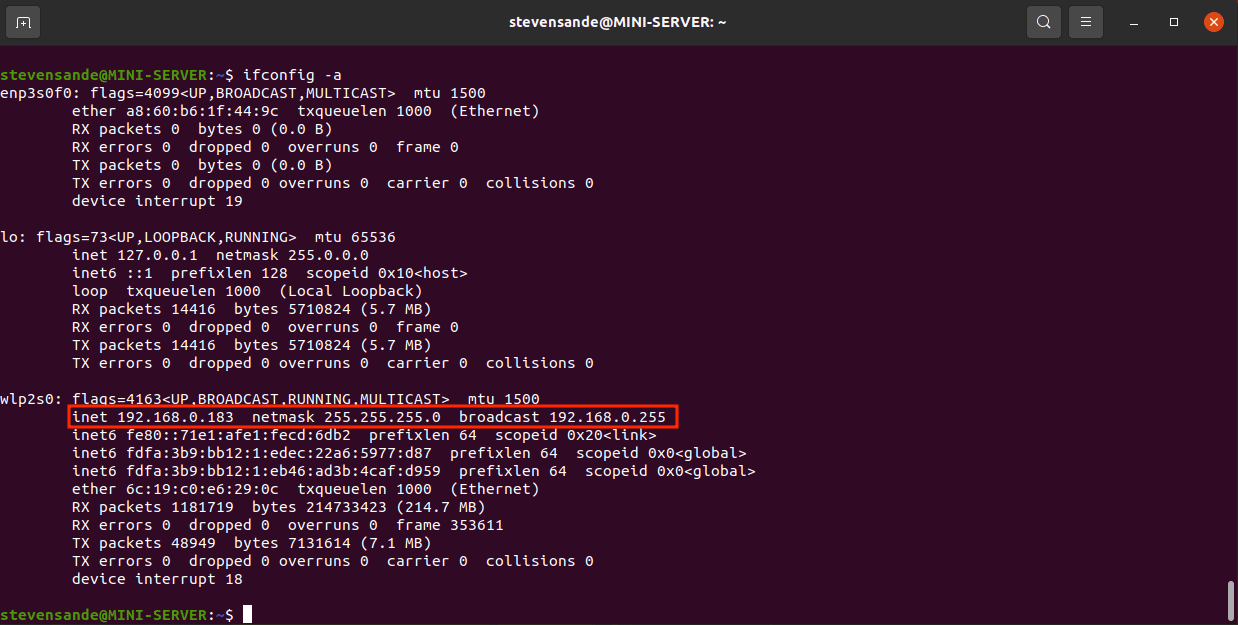 The IP address of our Linux server is 192.168.0.183