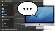 Mac Accesibility Preferences with Speech bubble