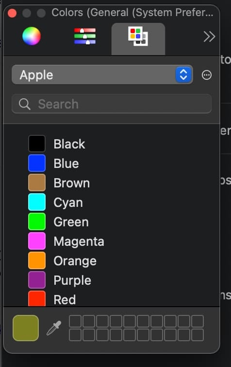 macOS color picker