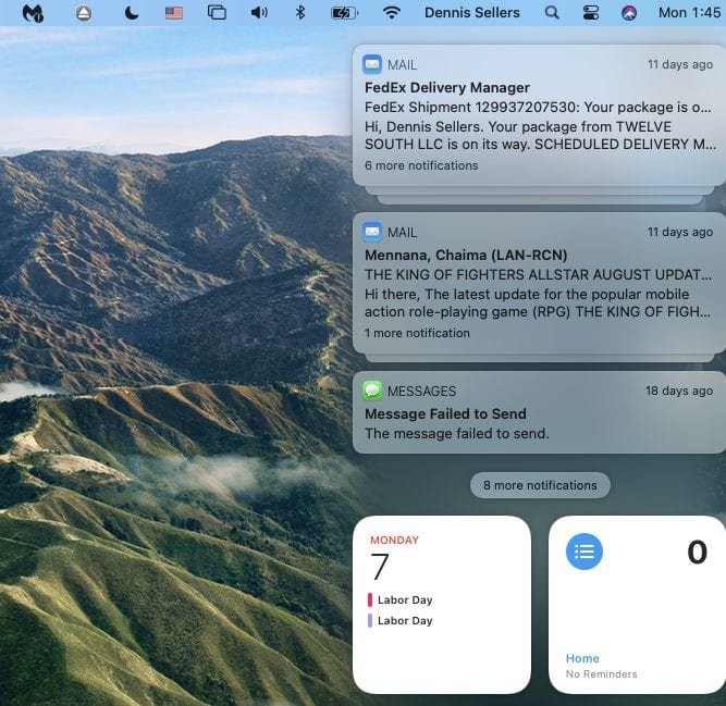 View of item in macOS Big Sur notification center